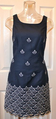 "Lilly Pulitzer Clarita Dress ""Sailing Embroidery"" True Navy | eBay"