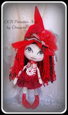 CERISE ooak collectible art witch doll by OCRPrimitiveArts on Etsy, $70.00