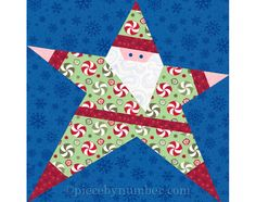 Santas the real star in this paper pieced quilt pattern! Easy-to-follow instructions and paper piecing patterns enable you to sew this adorable holiday quilt block thats given in both 6 inch (15.2cm) and 12 inch (30.5cm) sizes. Its also easily resizable to any size you need. Add