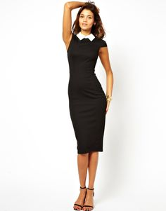 Freeshipping womens slim pencil dress with contrast collar patchwork for wholesale and dropship D0006 $19.90