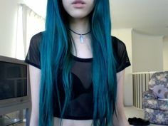 pretty ocean blue hair
