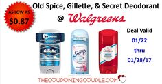 Check out this Awesome Deodorant deal @ Walgreens before heading to the store this week. Gillette, Old Spice, and Secret ONLY $0.87!!  Click the link below to get all of the details ► http://www.thecouponingcouple.com/cheap-gillette-old-spice-secret-deodorant/ #Coupons #Couponing #CouponCommunity  Visit us at http://www.thecouponingcouple.com for more great posts!