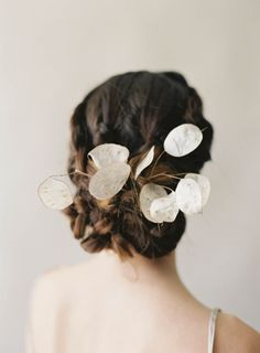 Lunaria. For the love of the moon.  Photographer Jen Huang Studio Mondine Florals Braided updo by Aimee Artistry