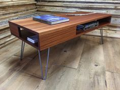 QUICK SHIP-Thin Man mid century modern coffee table with storage, featuring sapele mahogany & hairpin legs.