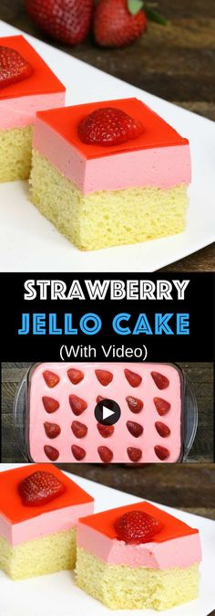 Easy Strawberry Jello Cake – A beautiful make-ahead dessert with 3 layers for . - Easy Strawberry Jello Cake – A beautiful make-ahead dessert with 3 layers for a party! Jello Cake Recipes, Jello Desserts, Party Desserts, Dessert Recipes, Cake With Jello Recipe, Party Sweets, Strawberry Jello Cake, Beaux Desserts, Make Ahead Desserts