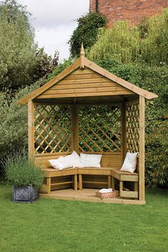 Half Burford Arbour | This beautiful half timber garden arbour comes complete with integral floor and three flat packed wooden benches. #arbours