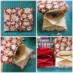 Sewing Pouch: Using fabric origami, the flannel flower pouch closes with a strap and Velcro and has nice deep pockets.
