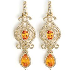 Summer Bridal Jewelry Finds: 18k gold Goddess earrings with mandarin garnets and diamonds