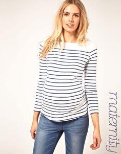 ASOS Maternity Top In Cotton Breton Stripe $36.36
