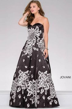 Black Strapless Embroidered Prom Ballgown 45523