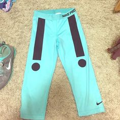 Nike pro workout pants Tiffany blue colored great material and never worn! Nike Pants Leggings