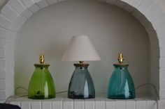 💡 Small sized Recycled Glass Table Lamps comes in 4 colours: Clear Interior Styling, Interior Decorating, Interior Design, Bedside Lamp, Lamp Bases, Recycled Glass, Glass Table, Table Lamps, Sideboard