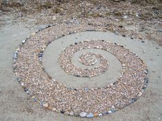 Beach spiral 2 by ~Dishtwiner on deviantART Rock And Pebbles, Rocks And Gems, Chaos Theory, Outdoor Stone, Fibonacci Spiral, Concrete Garden, Water Art, Outdoor Life, Outdoor Ideas