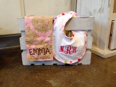 Adorable Burp Cloth and Bib for a special little one in your life! We love monograms! #baby #gifts #monogram #personalized #lakenorman #shopsmall #shoplocal #retail