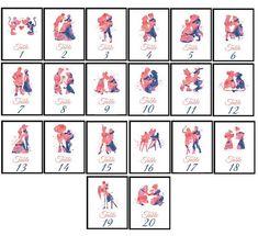 Disney Wedding Table Numbers SET of 20 Prints Disney Couple #DisneyWeddingIdeas