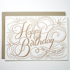 lovely gold typography happy birthday card by Igloo Letterpress