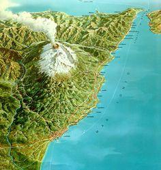 Etna Volcan - map. Etna is huge - and you can see it from far away.  #etna