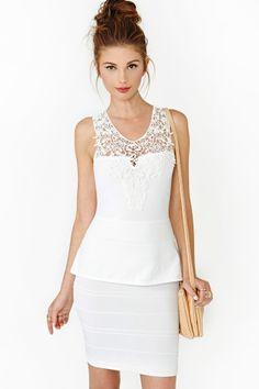 nasty gal. crochet peplum dress. ivory. #fashion