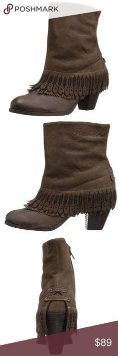 "Boho Fringe Drama High Booties Command attention in this sleek leather bootie sporting a sturdy heel and ground-gripping sole. Taupe. Shaft measures approximately 7"" from arch Heel measures approximately 2.5"" Platform measures approximately 0.25 inches Boot opening measures approximately 10.75"" around Zip, fringe. naughty monkey Shoes Ankle Boots & Booties"