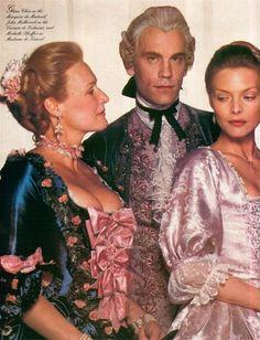 Dangerous Liaisons, 1988  ~ Glenn Close, John Malkovich, Michelle Pfeiffer. Triangle love story with a twist.
