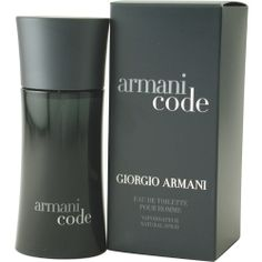 Armani Code by Giorgio Armani. This memorable scent mixes the fresh scent of apple with lavender and the spicy essence of cumin. Citrus and the aroma of woods complete the fragrance to create a beautiful blend. Introduced in 2004, this distinctive cologne for men is the perfect way to add style without overwhelming the senses. Splash it on to your skin before a date or a rendezvous with the one you love, and enjoy the heightened sense of passion it brings. Item #149315 EDT Spray 4.2 oz.