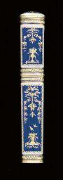 A SWISS ENAMELLED GOLD NEEDLE CASE, circa 1785