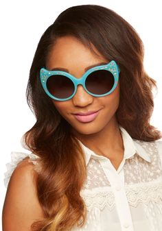 Positive Cattitude Sunglasses. Your enthusiasm today is 'purr'-fect - slip on these aqua-blue cat-eye sunglasses by Irregular Choice to keep it up! #blue #modcloth
