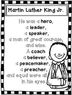This is a Martin Luther King Jr. poem included in my packet. Take a look at the packet HERE Thanks! You Might Also Like:Martin Luther King Jr. Writing, Sentence Starters, Sentence Stems, Paragraph Writing Transitions---------------------------------------------------------------------------------------------Looking for More Common Core Resources?David Goes To School Activities Common Core AlignedFirst Grade Jitters Activities Common Core AlignedGive Me Five & Whole Body Listening Poster...