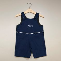 Monogrammed Boy Navy Blue and White Pique Shortall by Gramono, $55.00