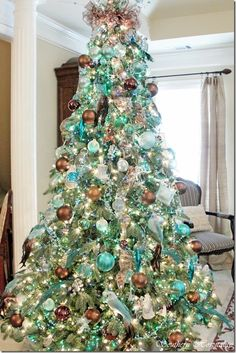 Cristhmas Tree Decorations Ideas : Marcs Christmas Home Tour: Part 2 Turquoise Christmas, Gold Christmas Tree, Beautiful Christmas Trees, Christmas Tree Themes, Holiday Tree, Winter Christmas, Merry Christmas, Christmas Mantles, Christmas Villages