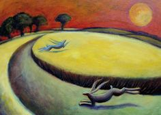 'Chasing Hares at Sunset' By Painter Hannah Giffard. Blank Art Cards By Green Pebble. www.greenpebble.co.uk