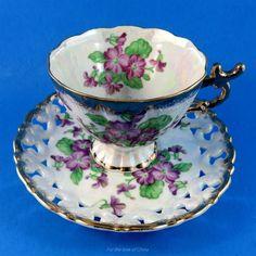 Reticulated Luster Purple Violets Pedestal Shafford Tea Cup and Saucer Set | Antiques, Decorative Arts, Ceramics & Porcelain | eBay!