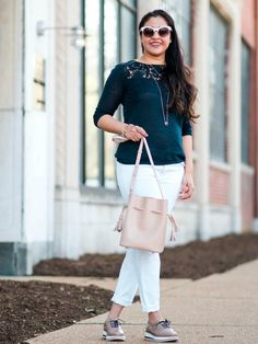 J.Jill Lace Applique Pullover and Hieleven Blush Bucket Bag