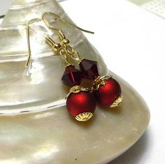 Red Swarovskis and Red VelvetBeads with Gold by marilyn1545, $15.00