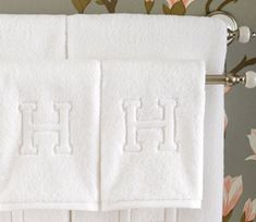These Auberge Bath Towels are a famous wedding registry item, available here at Shoda Kuhl-Linscomb - 2424 West Alabama, Houston TX A handsomely bold, embossed letter adorns this luxuriously soft terry bath towel set for a truly regal bath experience. Monogrammed Hand Towels, Monogram Towels, Monogram Letters, Wood Letters, Monogram Fonts, Guest Towels, Bath Towels, Tub Mat, Monograms