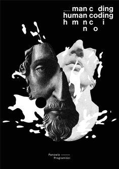 """human coding"" by alina rybacka-gruszczyńska / poland, 2019 / offset, 841 x 1189 mm Graphic Design Posters, Graphic Design Typography, Graphic Design Illustration, Arte Steampunk, Typography Layout, Dark Photography, Album Design, Art Background, Surreal Art"