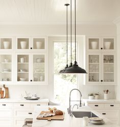 white kitchen, black pendants + hardware