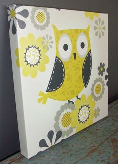 Yellow and Gray Patterned Owl Gallery Wrapped canvas