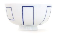 Inban Rice Bowl - Rice bowl featuring the artist Tachibana Fumio San designs with old fashioned imprimatur. Madobe - Mirrors with vertical blue lines - Ref : AZKG00203. 38€