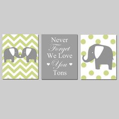 "CUUTE; I love the idea of a mommy and daddy elephant on either side and maybe a baby elephant in between, like ""we support you!"" so sweet  Elephant Nursery Art Trio  Set of Three 8x10 Prints  by Tessyla, $55.00"