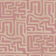 Kuba Cloth Fabric by the Yard - Terracotta Fabric Wallpaper, Of Wallpaper, Tribal Pattern Wallpaper, Hallway Wallpaper, Luxury Wallpaper, Textile Patterns, Textiles, Trippy Patterns, Geometric Patterns