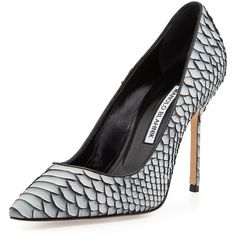 BB Python Pump, Gray by Manolo Blahnik at Bergdorf Goodman. Rihanna Manolo Blahnik, Manolo Blahnik Heels, Stilettos, Pumps Heels, High Heels, Flats, Leather Slip On Shoes, Leather Pumps, Grey Leather