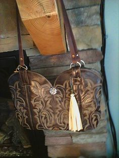 Montana Made Brown Boot Top Purse with Tan Tassel by PickAPennyUp, $70.00