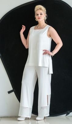 Swans Style is the top online fashion store for women. Shop sexy club dresses, jeans, shoes, bodysuits, skirts and more. Over 60 Fashion, Over 50 Womens Fashion, Fashion Mode, Fashion Pants, Fashion Dresses, Curvy Outfits, Classy Outfits, Beautiful Outfits, White Fashion