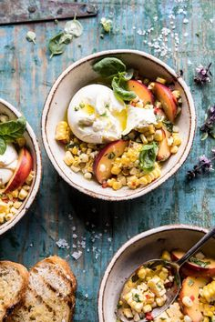 Spicy Corn and Peaches with Burrata —> Grilled corn, peppers, fresh basil, sweet… – Recipes Easy Summer Salads, Summer Recipes, Vegetarian Recipes, Cooking Recipes, Healthy Recipes, Lentil Recipes, Roast Recipes, Crockpot Recipes, Keto Recipes