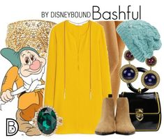 Leslie Kay of Disneybound put together this outfit inspired by Bashful from Snow White and the Seven Dwarfs. We love the vibrant yellow paired with the light seafoam green! Disney Character Outfits, Cute Disney Outfits, Disney Themed Outfits, Character Inspired Outfits, Disney Bound Outfits, Disney Dresses, Cute Outfits, Disney Clothes, Work Outfits