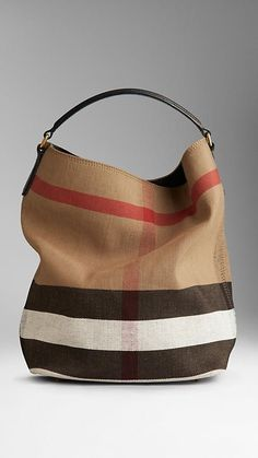 Medium Canvas Check Hobo Bag with Black Strap