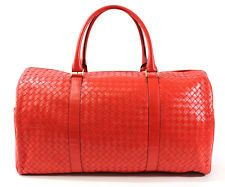 NEW BOTTEGA VENETA Red Woven Leather Handle Duffle Handbag STARTING AT 99 CENTS - www.ShopLindasStuff.com