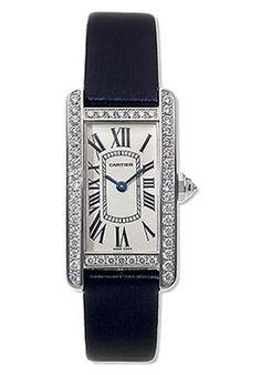 Cartier WB707331 Tank Americaine Women's 18K White Gold Silver Dial Diamond Bezel on Sa « eStyleMe