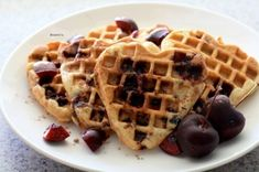 Ripped Recipes - Fresh Cherry Waffles - Dairy free and sugar free, give these a try!